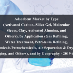 Adsorbent Market by Type (Activated Carbon, Silica Gel, Molecular Sieves, Clay, Activated Alumina, and Others), by Application (Gas Refining, Water Treatment, Petroleum Refining, Chemicals/Petrochemicals, Air Separation & Drying, Packaging, and Others), and by Geography - 2019 to 2024