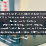 Substrate-Like PCB Market by Line/Spacing (25/25 & 30/30 µm and Less than 25/25 µm), Inspection Technology (Optical Shaping, Direct Imaging, Automated Optical Inspection, and Automated), Application, and Region - 2019 to 2024