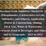 Antiscalants/Scale Inhibitors Market by Type (Phosphonates, Carboxylates/Acrylic, Sulfonates, and Others), Application (Power & Construction, Mining, Oil & Gas, Water & Wastewater Treatment, Food & Beverages, and Others) and by Geography - 2019 to 2024