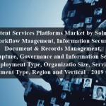 Content Services Platforms Market by Solution (Workflow Maagement, Information Security, Document & Records Management, Data Capture, Governance and Information Security), Deployment Type, Organizatio Size, Service, Deployment Type, Region and Vertical - 2019 to 2024