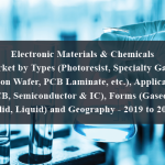 Electronic Materials & Chemicals Market by Types (Photoresist, Specialty Gases, Silicon Wafer, PCB Laminate, etc.), Application (PCB, Semiconductor & IC), Forms (Gaseous, Solid, Liquid) and Geography - 2019 to 2024